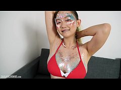 Stunning Asian Teen Harriet Sugarcookie Plays in Glitter