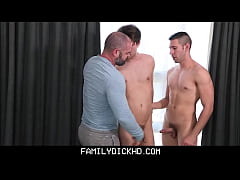 Bear Stepdad And His Two Stepsons Have A Threesome