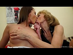 Mature babe and her younger lesbian friend