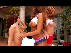 Three HOT Knockout Babes Pleasuring each other at a seaside resort. More Perfect Tits & Ass than one man can handle!