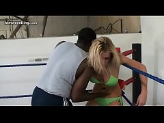 Blonde vs Black Guy Maledom Interracial Mixed Wrestling