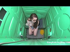 porta potty gloryhole gets college girl to suck off strangers