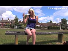 Katy Moore peeing outdoors for eternity 40 seconds