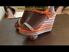 Our brutal Ebony Goddess Miss Asera extreme wedge sandals trample & CBT