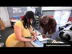 phat ass massive boobed angelina castro fucks a huge black dick to get a sell a motorcycle