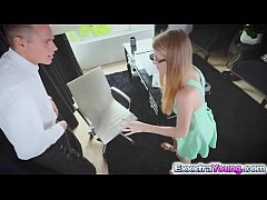 Blonde assistant Hannah Hays fucks in the office