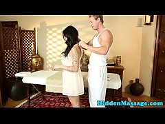 Busty massage babe screwed on massage table