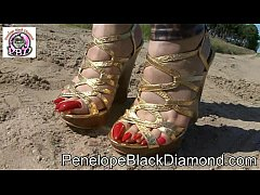 Penelope Black Diamond - Bikini   Leggins & golden High Heels Preview