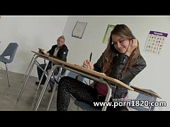 Horny teen babe gets fucked in school