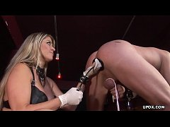 Super thick blonde getting plowed in a BDSM dungeon