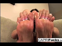 Capri not only plays with her wet pussy but also her sexy feet
