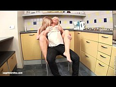 Stunning blondes Larissa and Ingrid hot lesbian action in the kitchen