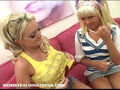 Innocent blonde teen learns about fucking and facials