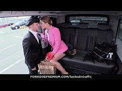 fucked in traffic - reverse cowgirl dick riding in the taxi car