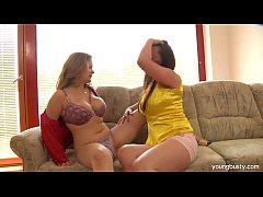 Chesty Anita share a dildo with a lesbian