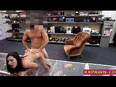 hot brunette banged out in pawnshop