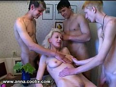 Russian Amateur Milf Anna Gets Gang Banged