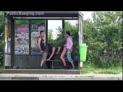 crazy risky public sex threesome at a bus stop with a hot girl with big tits