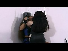 Slave woman tied up and forced to eat a big dildo