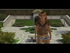 3D cartoon blonde babe getting double teamed