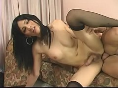 Sexy Asian tranny sucks and fucks her boyfriend's big rod on couch