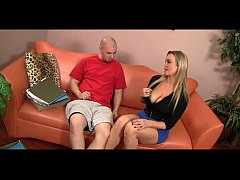 Abbey Brooks - Giant Cock Stud Fucks Super Hot Blonde Abbey Brooks On Couch