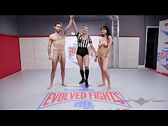 Big boob Charlotte Cross gets owned and screwed in mixed nude wrestling sex match at Evolved Fights