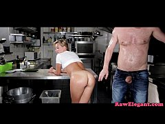 European babe assfucked on kitchen bench