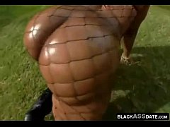 Massive black oily ass bouncing for the camera