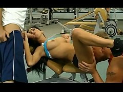 Hot double penetration in the GYM.
