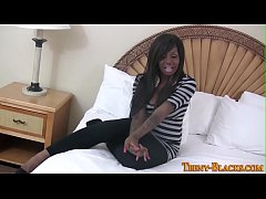 Ebony babe toys herself