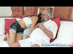 Petite eurobabe doggystyled by grandpas cock