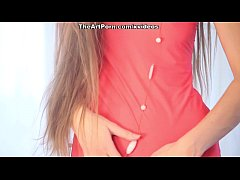 Playful chick Mika shows the erotic panty cameltoe