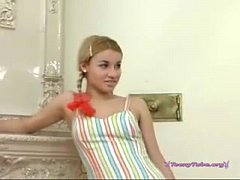 Russian blonde in pigtails