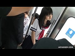 Japanese slut in School uniforn banged hard in the public subway