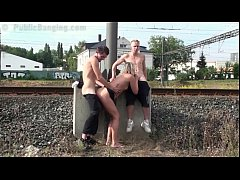 Facial cum on hot MILF face in public sex gang bang orgy by a train station