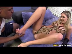 Alysha Rylee Gives Footjob To A Black Cock