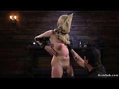 Brunette slave Cadence Luxe with bag on her head and in metal device bondage got pussy vibrated