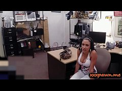 Big breasts amateur latina gives a sloppy blowjob and gets her yummy coochies screwed hard by horny pawn keeper in his office