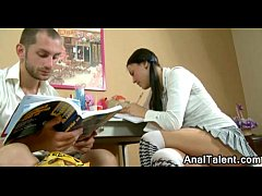 Dark Hair Schoolgirl French Kissing Tutor