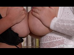 Voluptuous Lesbian Babes Dolly Fox & Katie T. Fill Their Pinks With Sex Toy