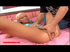 Legsandfeetvideos.com Skinny teen blond gets fuck hard and big messy cum on feet