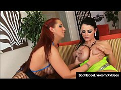 UK Brunette Sophie Dee Dildo Fucks & Scissors Kelly Devine!