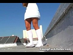 Teen fucked on the roof top