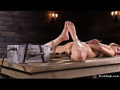 kristen scott takes off her blue underwear and exposes hairy cunt then in rope bondage takes fucking machine