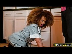Afro hair girl in stockings get fucked good