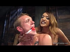 Tranny in lingerie anal fucks gagged man