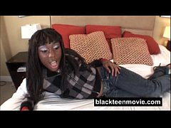 Ebony teen amateur fucking white boy in Black Hardcore Video