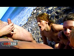 Great orgy on the beach woth 3 girls fucked in ...