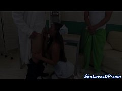 DP screwed nurse swallows a load of cum